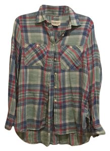 Denim & Supply Button Down Shirt green, blue, red, & creme