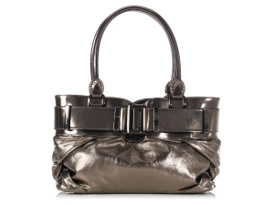 Burberry Metallic Gunmetal Bb.k1201.05 Leather Knot Tote