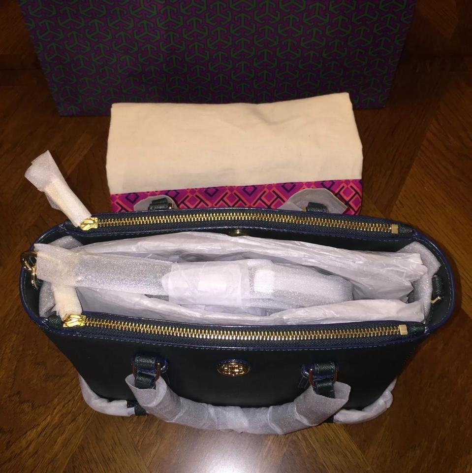 4cfedc0e86d Tory Burch Robinson Small Multi Jitney Green Leather Tote 21% off retail