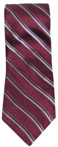 DKNY New DKNY 100% Silk Burgundy Red & Black White Diagonal Stripe Necktie