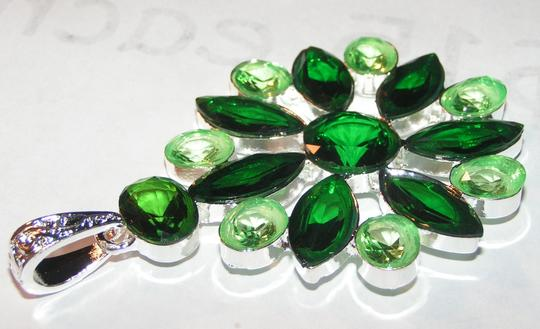 Silver/Green Buy 1 Get 1 Free Topaz Pendant Free Shipping Necklace