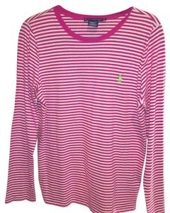 Polo Ralph Lauren T Shirt pink and white stripes with green logo