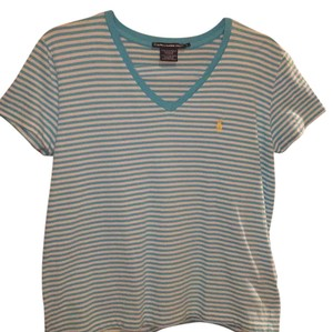 Polo Ralph Lauren T Shirt blue and white stripe with yellow logo