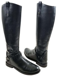Tory Burch Burnished Leather Cutout Logo Medallion Logo Riding Made In Brazil Black Boots