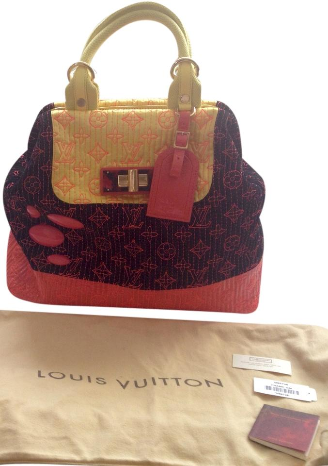 bbd22cb699ae Louis Vuitton Extremely Rare Neon Noir Monogram Motard Firebird Gm Black  Pink and Yellow Suede Leather Hobo Bag