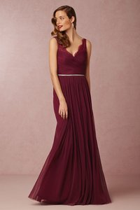 BHLDN Black Cherry Nylon Tulle Lace Polyester Lining Fleur In - Like New Formal Bridesmaid/Mob Dress Size 4 (S)