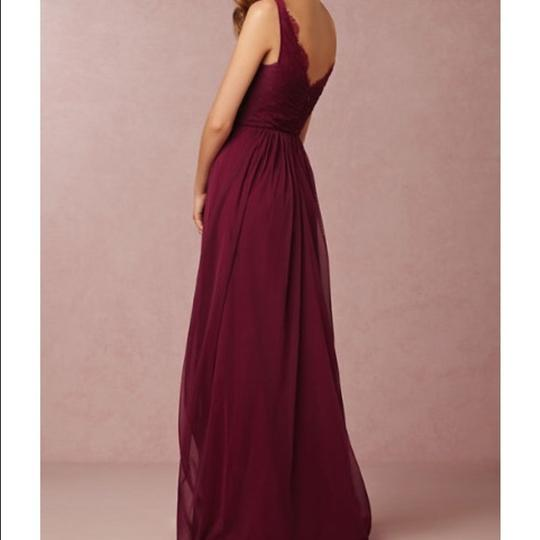 BHLDN Black Cherry Nylon Tulle Lace Polyester Lining Fleur In - Like New Formal Bridesmaid/Mob Dress Size 4 (S) Image 1