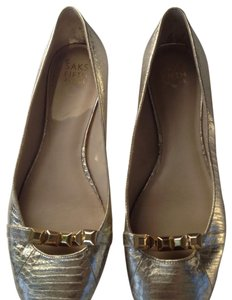 Saks Fifth Avenue gold Flats