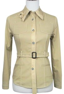 Prada Cotton Belted Khaki Fitted Beige Jacket