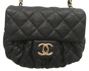 Chanel Silver Hardware Leather Logo Quilted Cross Body Bag