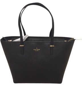 Kate Spade Leather Gold Tote in Black