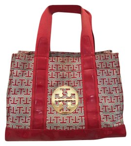 Tory Burch Tote in Red, Navy, White & Gold
