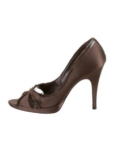 Pedro Garcia Distressed Satin Brown Pumps