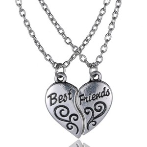 2pc Silver Alloy Best Friends Necklace Set Free Shipping