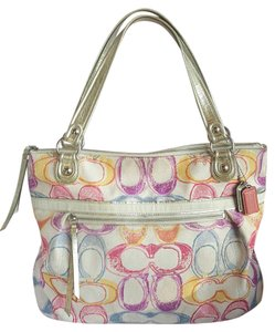 Coach Poppy Tote in White pink