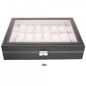 MAKES A GREAT GIFT! Black Watch Display Storage Box. Holds 24 Watches!