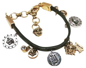 Versace Leather Medusa Charm Bracelet
