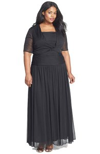 Adrianna Papell Black Stretch Tulle Gown With Cover-up Dress