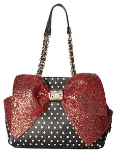 Betsey Johnson Black Dot Red Sequin Satchel in Multi-Color