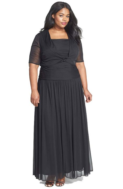 Item - Black Stretch Tulle Gown with Cover-up Formal Bridesmaid/Mob Dress Size 18 (XL, Plus 0x)
