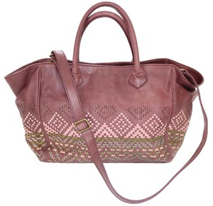 Isabella Fiore Leather Woven Bohemian Tote in Taupe