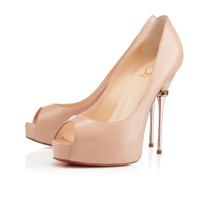 Christian Louboutin Miss Desprez Peep Toe Beige, Silver Pumps