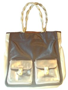 Charles Jourdan Red Interior Fancy Chic French Sophisticated Tote in Black Gray Silver