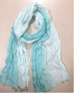 2 Tone Blue Cotton Scarf Wrap Free Shipping