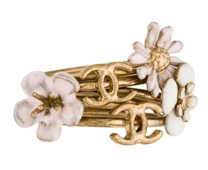 Chanel Gold-tone Chanel crystal pearl interlocking CC cocktail ring set 6.5