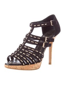Dior Suede Cork Strappy 8 Black Sandals