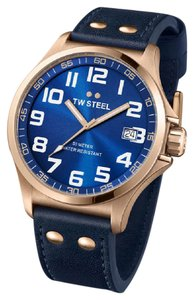 TW Steel TW Steel Pilot Sunray Blue Dial Rose Gold PVD Steel Blue Leather Men's
