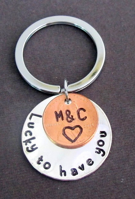 Item - Silver W Lucky To Have You Handstamped Disc W/Penny Coin Keychain Couples Key Other