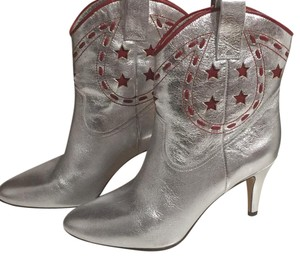 Marc Jacobs Embellished Silver with red embellisment and metallic Boots