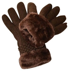 Unknown Dark Brown Extra Thick Fur Lined Knit Gloves Free Shipping