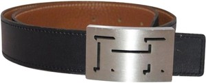 Hermès Shadow Outline Edge Trace Black Belt Silver Buckle H Logo MHMLM11
