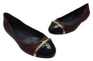 Tory Burch Pacey Cap Toe Leather Brown/Navy Flats