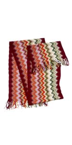Missoni Multi-Color Chevron Knit Wool Scarf