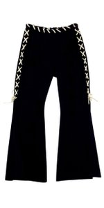 Moschino Black Cream Side Slits Pants