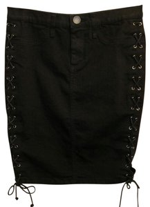 London Jean Cotton Denim Pencil Skirt Black