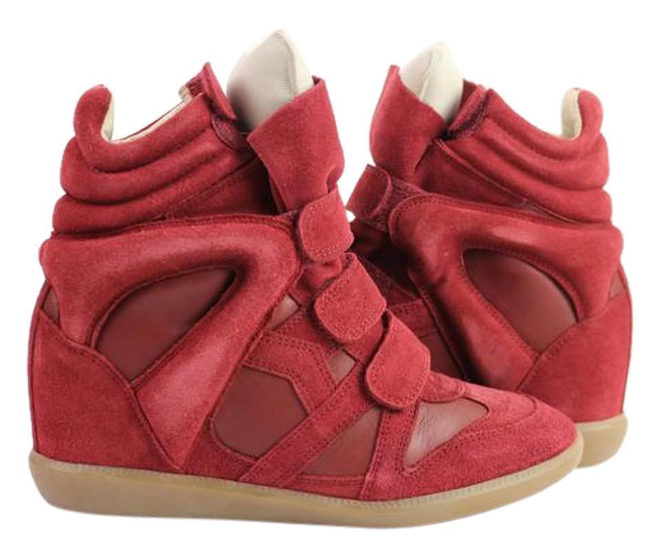 32eb7e9406 Isabel Marant Sold By Ms In Fh 4/23/19 Red Leather Suede Bekett Sneaker  Hidden Wedge 23ima919 Sneakers