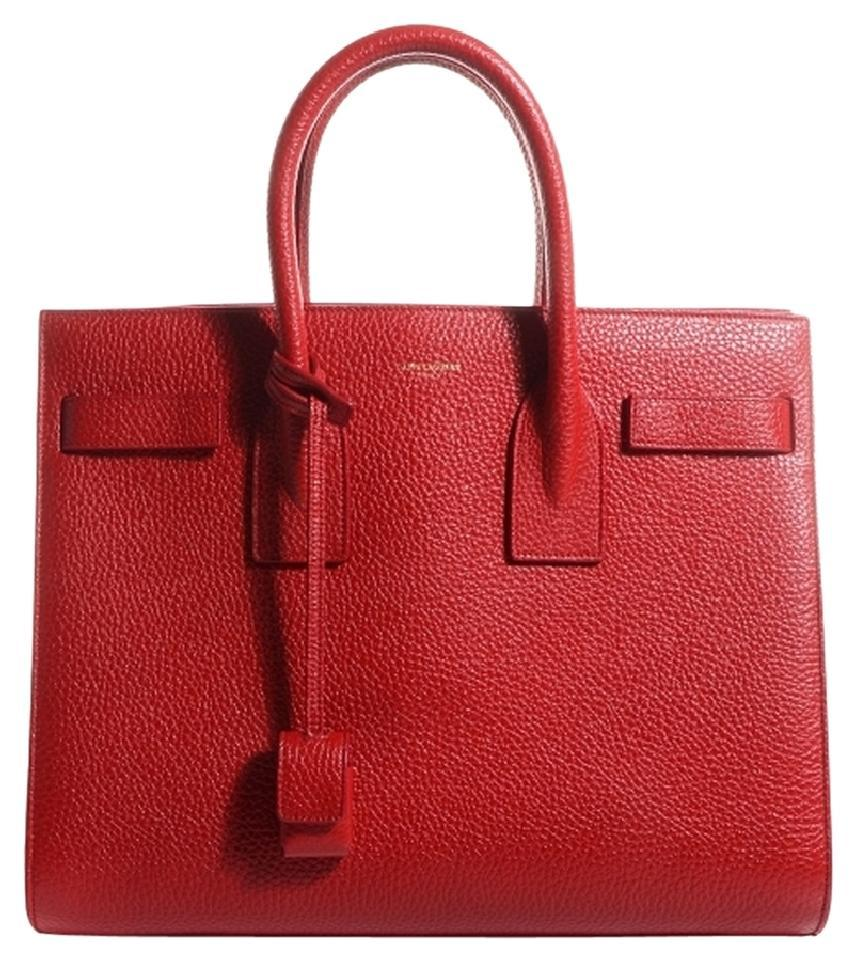 fbfeab4047 Saint Laurent Sac de Jour Ysl Small Tote Red Leather Satchel - Tradesy