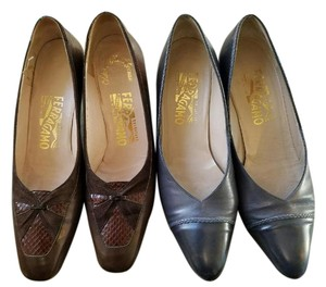 Salvatore Ferragamo Chanel Gucci Prada Hermes Brown and gray Pumps