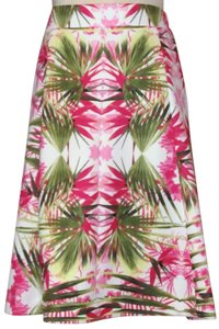 INC International Concepts Plus Stretch A Line Skirt White Bright Pink & Green