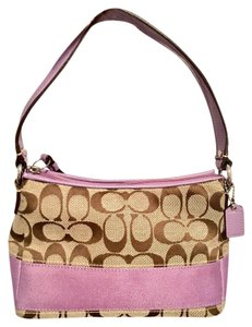 Coach Classic Spring Summer Cute Beige/Brown/Lavender Clutch