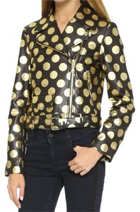 Moschino Leather Black and Gold Leather Jacket