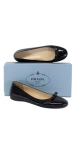 Prada Black Patent Leather Bow Ballerina Flats