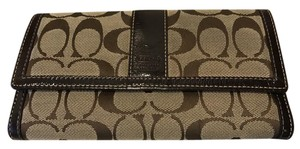 Coach Coach signature print checkbook wallet