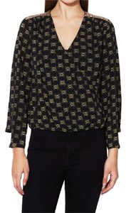 House of Harlow 1960 Top black with gold sequin detail on shoulders