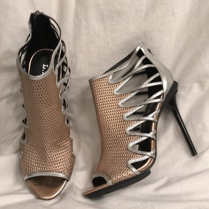 L.A.M.B. New/nwt Stiletto Leather Boot & Booties Rose Gold and Silver Platforms