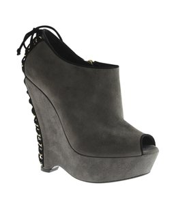 Saint Laurent Suede Open-toe Grey Boots